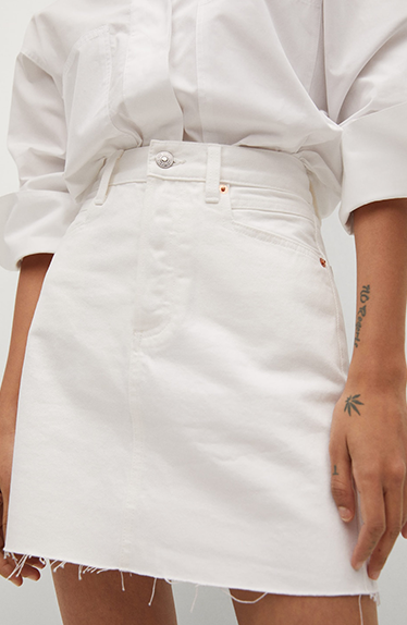 Hailey Bieber Inspirert White Denim Skirt